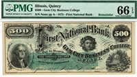 $500 Quincy Illinois Gem City Business College. PMG 66 EPQ GEM Uncirculated.