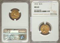 1912 $2.5 Indian MS63 NGC