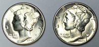 1944-D & 1945-D 10C Mercury Dimes Lot of 2 BU #