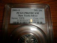 2001-S SILVER NEW YORK PCGS PR69DCAM