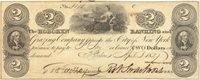 Hoboken Hoboken Banking & Grazing Co. 1827 $2 H-513 777 195-G10 -- Tiny irregular margins surround this note by A.B & C. Durand, Wright & Co.; seated nude center, Franklin @ ends AU+