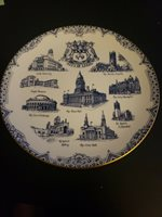 City Of Leeds Architectural Heritage Plate Blue/White Used Great Condition 8-3/4