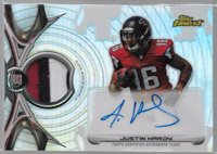 2015 Topps Finest Justin Hardy Auto Player Worn 3 Color Patch Rc