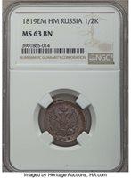 Russia: Alexander I 1/2 Kopeck (Denga) 1819 EM-HM MS63 Brown NGC,...