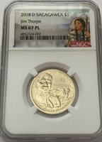 2018 P Native Sacagawea Dollar Jim Thorpe $1 NGC MS67