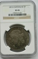 1891 B Switzerland 5 Francs, NGC XF 45,Silver