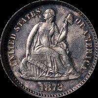 1872-P Seated Liberty Half Dime NGC MS62 Nice Eye Appeal Strong Strike