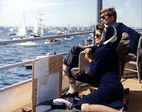 PRESIDENT AND FIRST LADY KENNEDY AMERICA'S CUP 11x14 SILVER HALIDE PHOTO PRINT