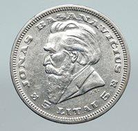 1936 LITHUANIA Silver 5 Litai JONAS BASANAVICIUS Vintage Lithuanian Coin i91372