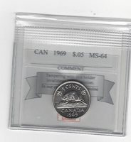 **1969** Coin Mart Graded Canadian, Five Cent,**MS-64**