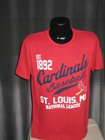 MLB St Louis Cardinals Baseball Vintage Red T Shirt Mens Nwt Majestic est 1892