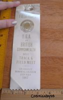 1967 USA vs British Commonwealth Dual Track meet CA press ribbon RARE