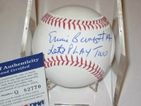 ERNIE BANKS (Cubs) Signed Official MLB Baseball w/ PSA COA & LET'S PLAY 2 Inscr