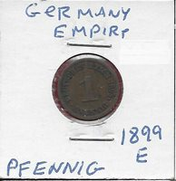 GERMANY EMPIRE 1 PFENNIG 1899-E WILHELM II,LARGE CROWNED IMPERIAL EAGLE WITH SHI