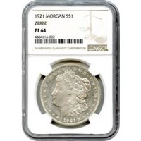 1921 $1 Morgan Silver Dollar Zerbe Proof NGC PR64