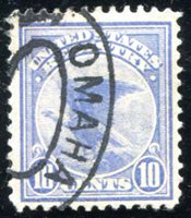 Lot id: 41 - F1 Registration Stamp UsedScott F1 10 Cent Eagle Omaha Registered Oval Cancel. VF