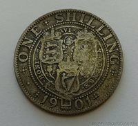 1901 Great Britain .925 Silver 1 One Shilling