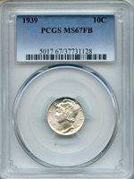 1939 Mercury Dime PCGS MS67FB ~ Full Bands 10c (37731128)