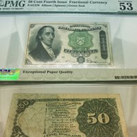 1863-Fifty cents fourth issues fractional currency note PMG53 FR#1379, March 3rd