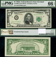 FR. 1968 D $5 1963-A Federal Reserve Note Cleveland D-A Block Gem PMG CU66EPQ