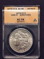 1878 CC AU58 VAM 27 Medium CC Two Die Gouges Wing Morgan Silver Dollar Scratched