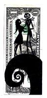 JACK & SALLY OF A NIGHTMARE BEFORE XMAS ORIGINAL COMIC ART ON A DOLLAR BILL R 9