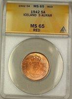 1942 Iceland 5A Five Aurar Copper Coin ANACS MS-65 Red GEM BU (A)