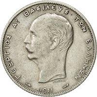 Greece, George I, 2 Drachmai, 1911, AU(50-53), Silver, KM:61