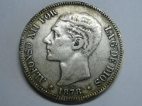 1878 SPAIN 5 PESETAS ALFONSO XII *18-78 EMM SPANISH SILVER COIN