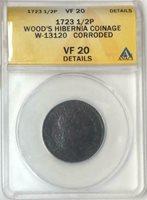 1723 1/2 Penny Wood's Hibernia ANACS VF20 Details #