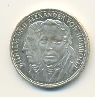 Germany W & A von Humboldt Silver 5 Mark 1967 UNC
