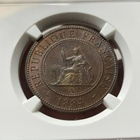 NGC-MS62BN French Cochin China 1884-A 1 Cent