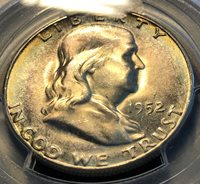 1952-S Key Franklin Half PCGS MS64 Beauty 80% FBL, Scratch-Free Holder CHN!