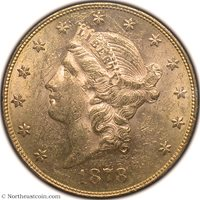 1878 Gold Double Eagle PCGS MS60 Gold Double Eagle