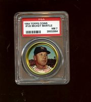 1964 Topps Baseball Coin #120 Mickey Mantle New York Yankees PSA 7 NM