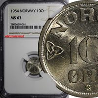 World Coins Norway Haakon Vii Copper-nickel 1954 10 Ore Ngc Ms63 Km# 396