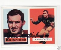 JOHN MARTINKOVIC SIGNED GREEN BAY PACKERS 1957 ARCHIVES