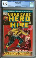 HERO FOR HIRE #1 CGC 7.5 WHITE PAGES // ORIGIN + 1ST APPEARANCE OF LUKE CAGE