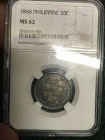 1868 Philippines 20C Twenty Centimos Centavos Isabel Spanish Esapana NGC MS 62