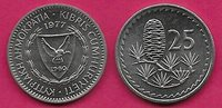 CYPRUS 25 MILS 1977 UNC CEDAR OF LEBANON,DENOMINATION AT LEFT,SHIELDED ARMS