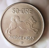 1967 NORWAY 50 ORE - ELKHOUND SERIES - Excellent - FREE SHIPPING - Norway Bin A