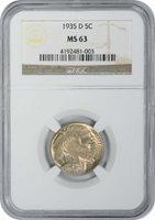 1935-D Buffalo Nickel, MS63, NGC