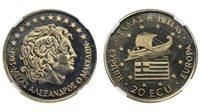 Greece - 20 Ecui 1993, Alexander the Great, NGC MS 68, Copper-Nickel
