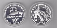 FRANCE SILVER PROOF 10 FRANCS COIN 1996 YEAR KM#1166 FIFA FOOTBALL 1998 URUGUAY