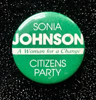 1984 Sonia Johnson 'A Woman for a Change' Citizens Party Presidential Pinback