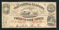 1863 25 CENTS THE STATE OF ALABAMA MONTGOMERY, AL OBSOLETE SCRIP NOTE (C)