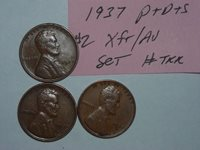 wheat penny XF/AU 1937,1937d,1937s SET OF 3 LINCOLN CENTS 1937-p,1937-d,1937-s