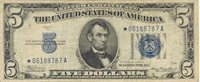 Fr No.1651* 1934A Silver Certificate $5 Nice uniform margins with very good centering, some circulation soil present consistent with the grade VF
