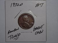 wheat penny 1932D NICE AU+/CH BU LINCOLN CENT 1932-D LOT #7 CH UNC RAINBOW TONED