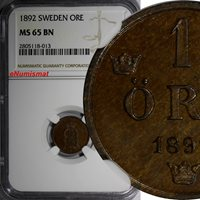 SWEDEN Oscar II Bronze 1892 1 Ore NGC MS65 BN TOP GRADED BY NGC RARE DATE KM#750
